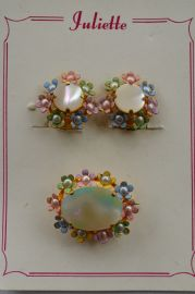 1950s Flower Brooch and Matching Earclips on Original Card (Sold)